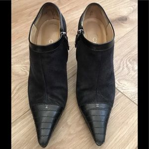 Authentic Chanel suede leather booties 38